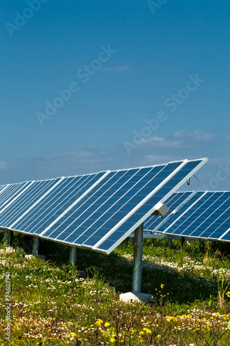 A row of photovoltaic solar panels