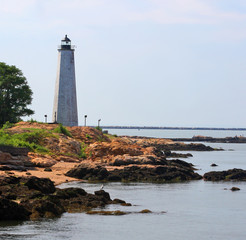 Five Mile Point lighthouse on the coast