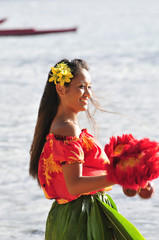 smiling hula dancer