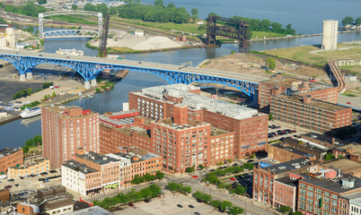 Aerial view of Cleveland Ohio and Cuyahoga River