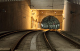 Metro tunnel in the city poster