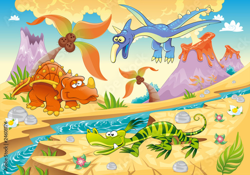 Foto op Canvas Dinosaurs Dinosaurs with prehistoric background. Vector illustration