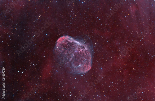 "NGC6888 ""Crescent"" Nebula. Supernova remnants, among stars."