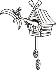 Cuckoo in the clock.Funny Birds.