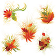 Vector set 4 of colorful autumn leafs. Thanksgiving