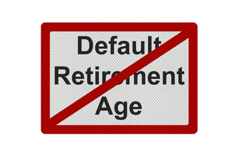 Photo realistic 'default retirement age' sign isolated on white