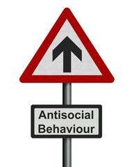 photo realistic 'increase in antisocial behaviour' sign, isolate