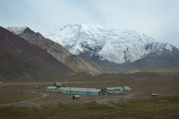 "Lenin peak base camp against mt. ""19th party congress"""