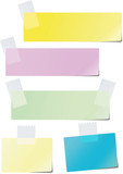 A set of colored paper glued to the recording tape poster