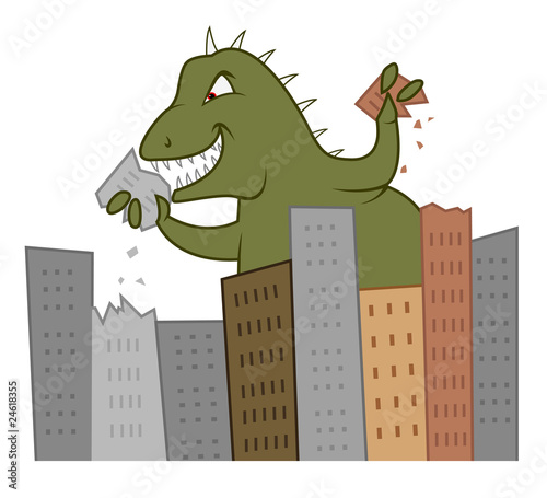 godzilla eating city