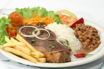 arroz feijão e bife