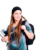 teenager student holding backpack