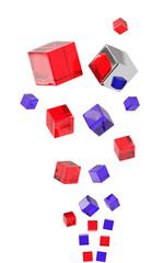 cubi rossi blu 3d