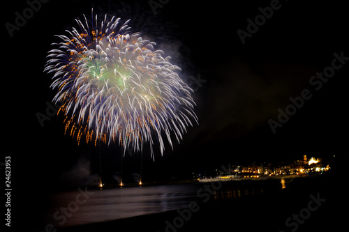 Fireworks on the pier,country and beach by night
