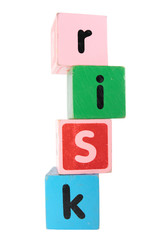 risk in toy play block letters with clipping path