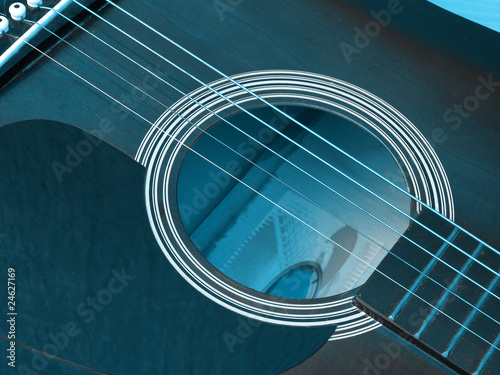 Close up of blue acoustic guitar