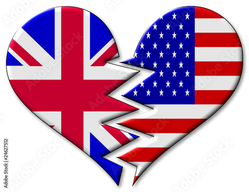 UK and USA in broken heart