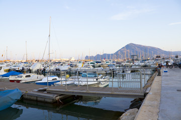 Boats moored in harbour near Valencia, Spain