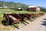 Display of Mormon Settler Hand Carts at Heritage Park in Utah - 24628550