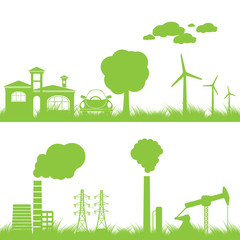 abstract ecology, industry and nature background