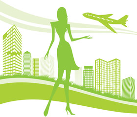 City, urban and airport background - vector illustration