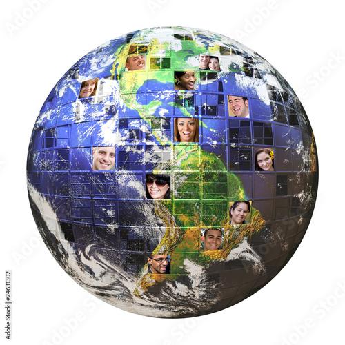 Leinwanddruck Bild Global Network of People