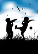 Little boys playing with ball on summer field