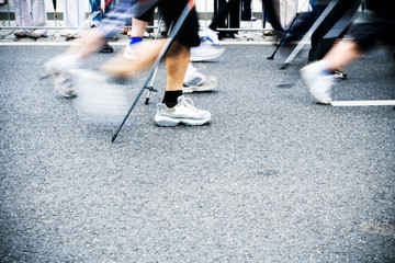 Nordic walking race, motion blur