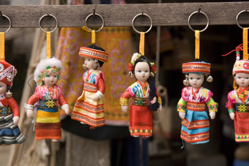 Dolls with traditional vietnamese clothing