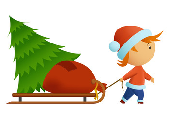 Little men in christmas nat carry tree and bag with gift