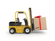 Forklift with gift box