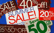 Various summer sale signs concepts of deep discount