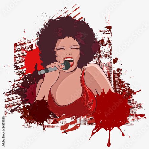 jazz singer on grunge background - 24653920