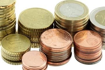 lot de pièces euro, fond blanc