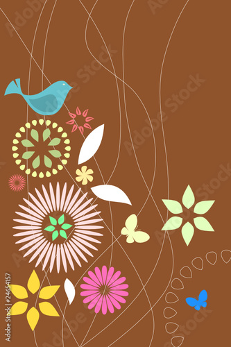 Retro flora and fauna wallpaper