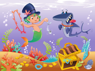 Triton with shark. Funny cartoon and vector characters.