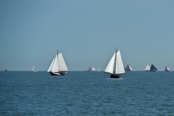 Lonely traditional netherlands sailing boats