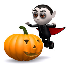 3d Dracula and pumpkin