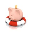 pig piggy bank is in lifebuoy