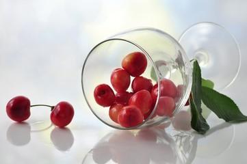cherries  with wineglass