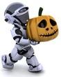 robot with jack o lantern pumpkin