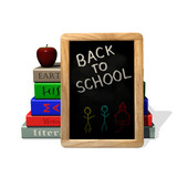 Back to school blackboard, books and apple