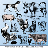 various Vintage-style illustrations  - farm animals set poster