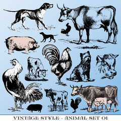 various Vintage-style illustrations  - farm animals set