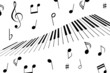Music notes and piano keys
