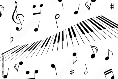 Music notes and piano keys - 24667594