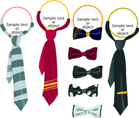 Set of a tie and bow icons