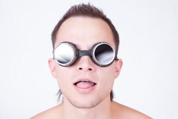 psychonaut, portrait of man in stylish glasses