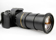 DSLR camera with zoom isolated