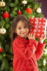 Young Girl Holding Wrapped Present In Front Of Christmas Tree
